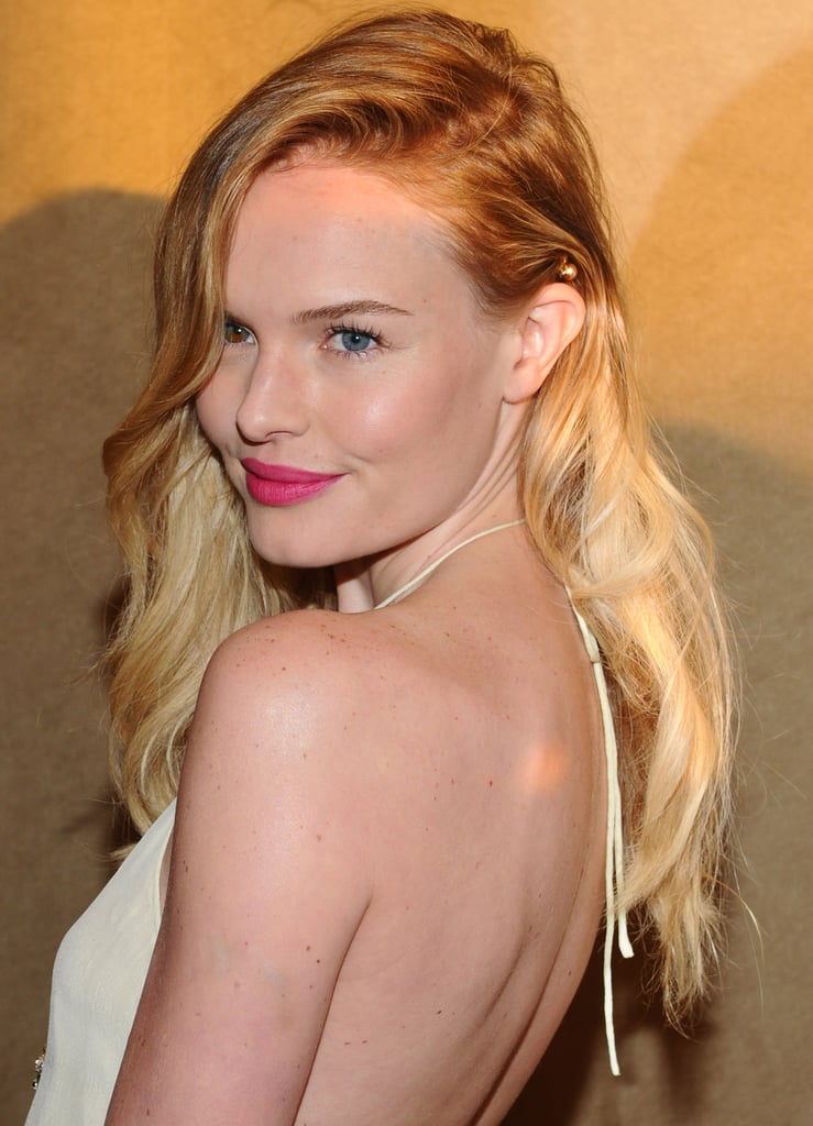 Kate Bosworth wore her hair to one side at the premiere of Life Happens in Century City.