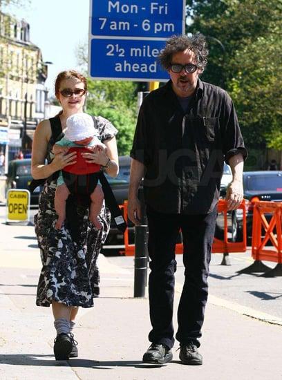 Tim Burton and Helena Bonham Carter Walking With Baby