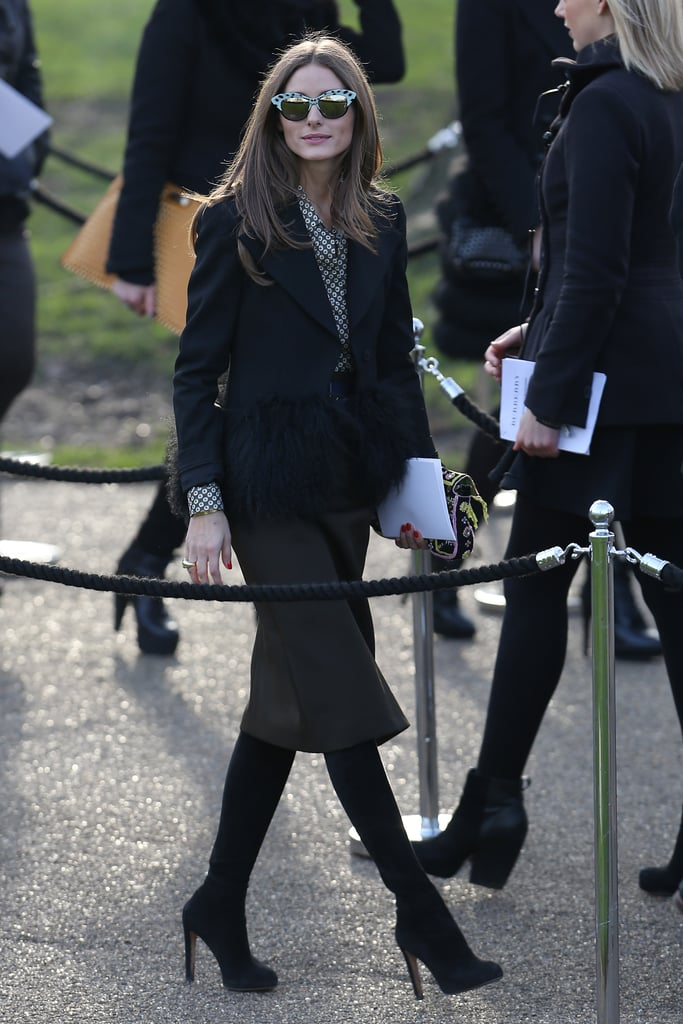 Olivia Palermo made a chic arrival at the Burberry Prorsum Autumn/Winter 2013 fashion show in London in February.