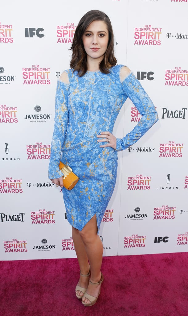 Mary Elizabeth Winstead showed off her penchant for feminine wares in a lace powder blue Emilio Pucci dress, which she accented with a saffron-hued clutch and nude sandals.