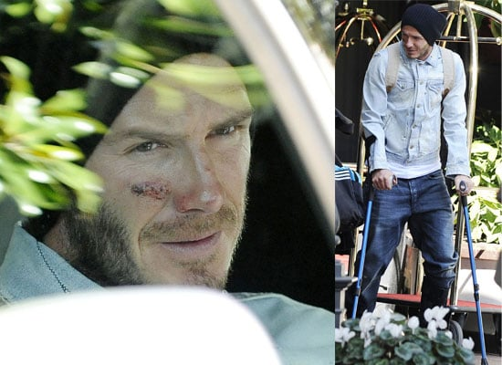 Photos of Injured David Beckham on Crutches Leaving His Milan Hotel To Fly to Finland For Surgery, His World Cup Dreams Over
