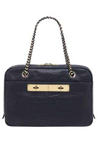 Carter Double Handle Bag in Midnight Croc Nappa Leather, $1,550
