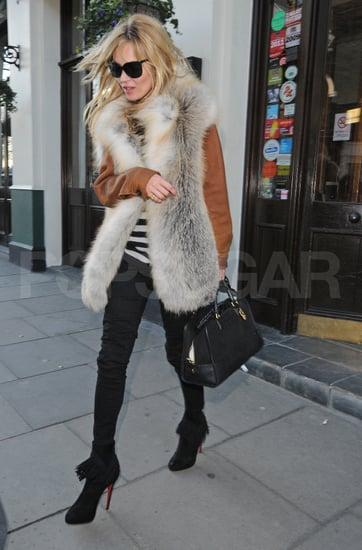 Kate Moss Fur Vest Leather Jacket Pictures