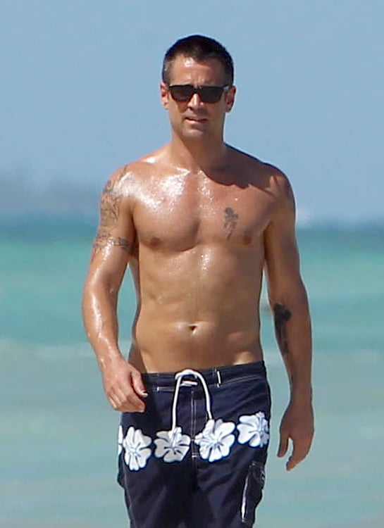 Colin Farrell was shirtless and tan during a stay in Cancun in July.