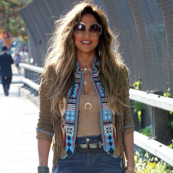 Jennifer Lopez Wearing Flare Jeans in New York
