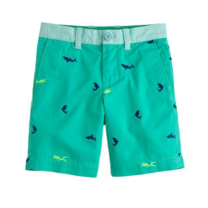 Look closely at J.Crew's embroidered Stanton Shorts ($50) and find the neon scuba divers swimming amongst the embroidered sharks!