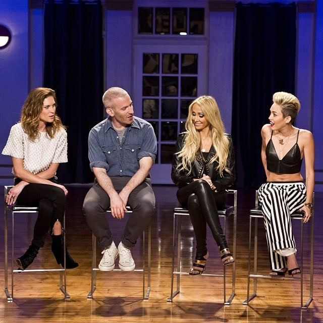 Cyrus wore a leather bralette, wide-leg striped trousers, and few dainty jewels while guest judging on Styled to Rock in November 2013. Source: Instagram user mileycyrus