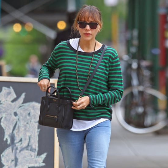Rashida Jones Green Stripe Sweater