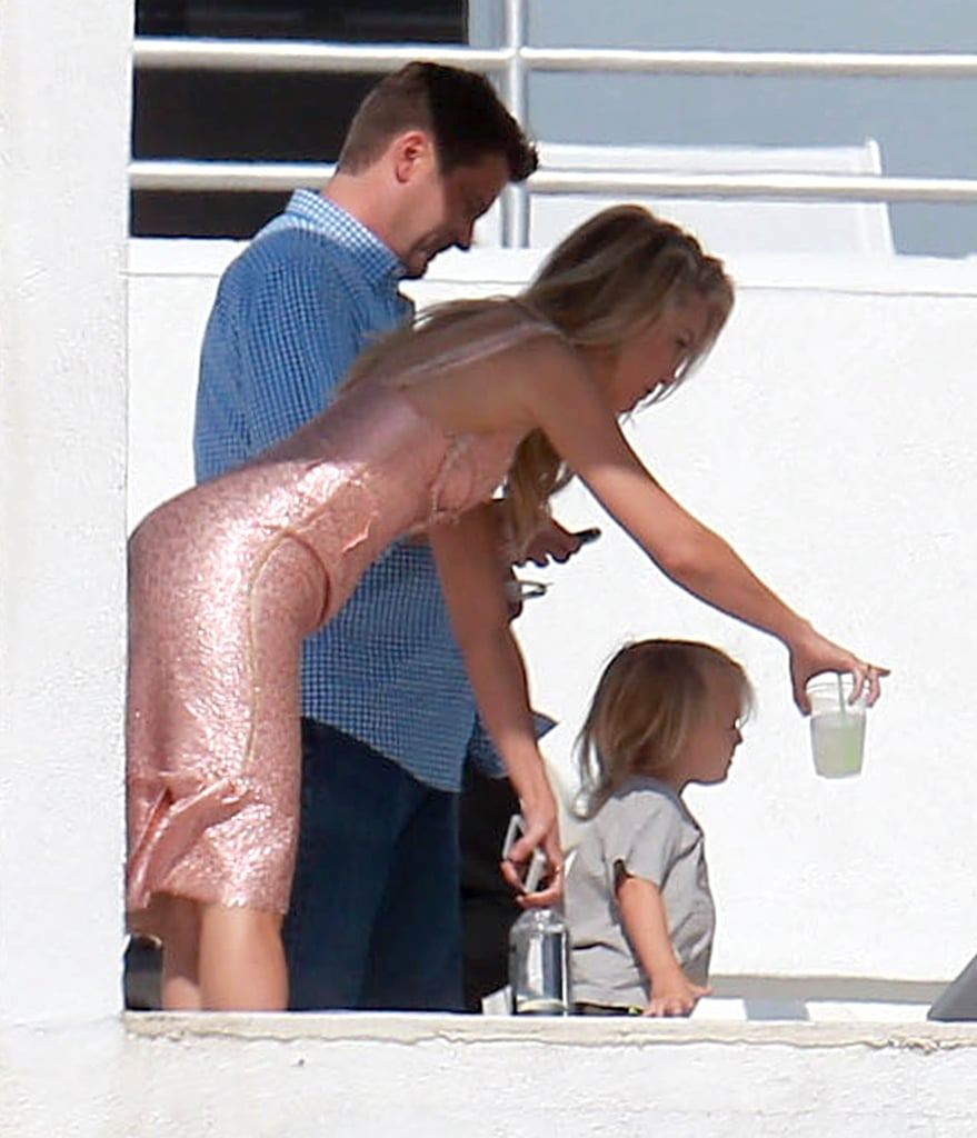 Kate Hudson brought her son Bing to the photo shoot, hanging out with him between pictures.