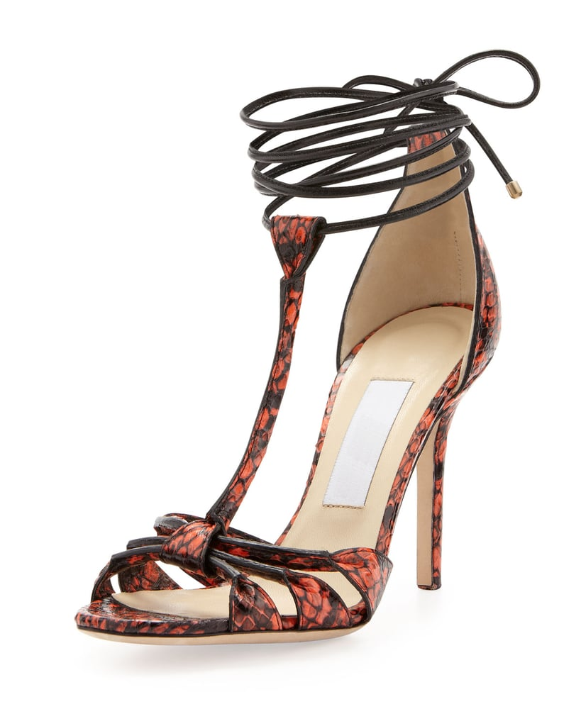 Jimmy Choo Motive Snakeskin Wrap Sandals ($995)