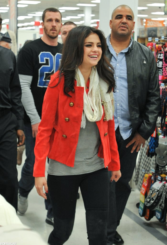Selena Gomez laughed on her way into a Kmart outside of NYC.