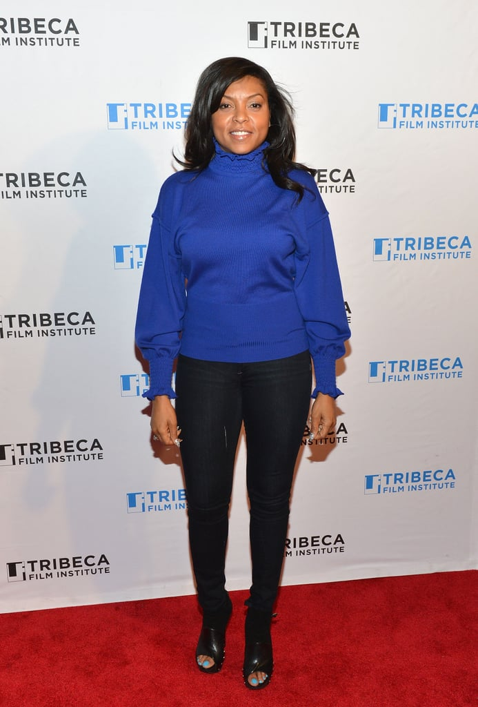 Taraji P Henson kept things casual at the Tribeca Teaches event wearing a cobalt blue knit sweater, skinny jeans, and studded peep-toe ankle boots.