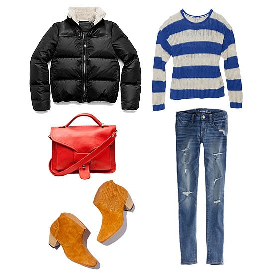 Bundling up doesn't mean you have to forgo your classic sense of style. Choose a puffer, like this one from Coach, with a traditional, seasonal feel (thanks to its shearling collar and basic silhouette). As for the rest, don your favorite jeans, a bright striped sweater, and quintessential ankle boots; add a contrasting carryall, and you've got the perfect everyday ensemble. Get the look:  Coach Legacy Down Puffer ($348) Joie Striped Rollneck Loose Knit Sweater ($268) American Eagle Jegging ($50) Opening Ceremony OC LA Small Satchel ($695) H by Hudson TM Embossed Booties ($285)