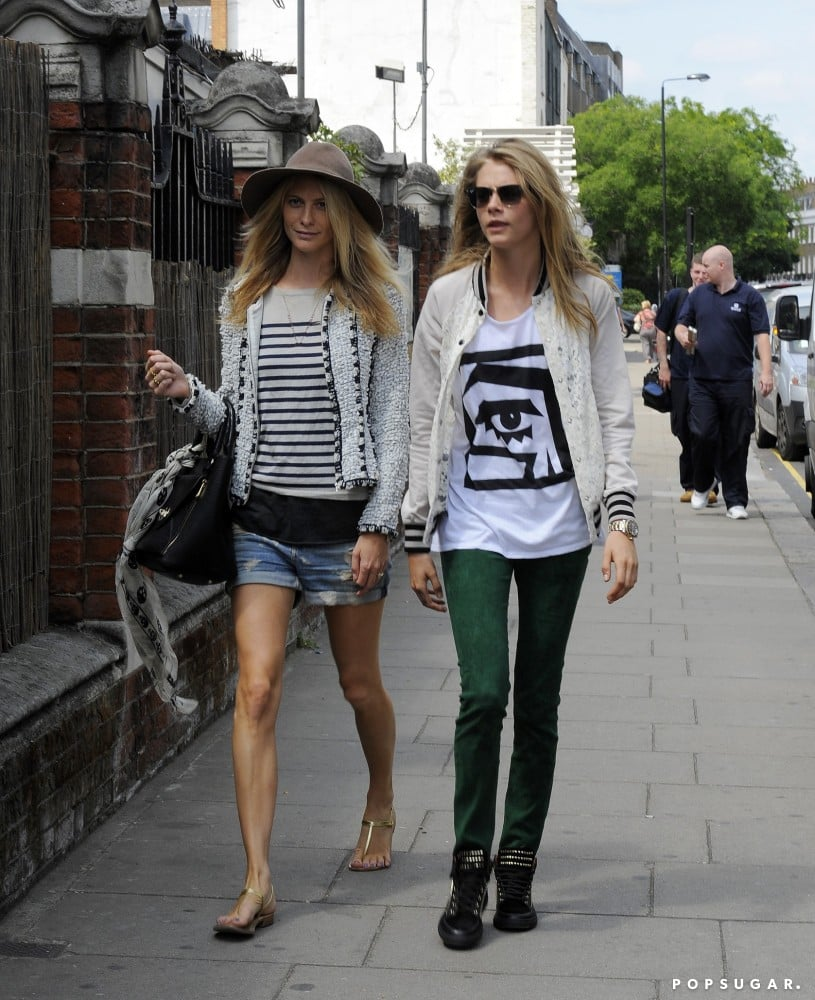 Sister street style: Poppy showed off her cool-girl spin on preppy, and Cara kept it bold, on-trend, and very much tomboy-inspired.