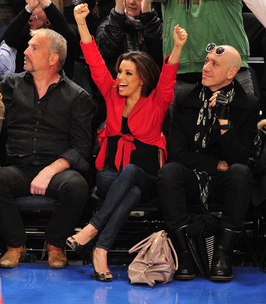 Eva Longoria sat courtside with Kevin Costner and her stylist, Robert Verdi, while watching the NY Knicks play the Dallas Mavericks in February 2012.