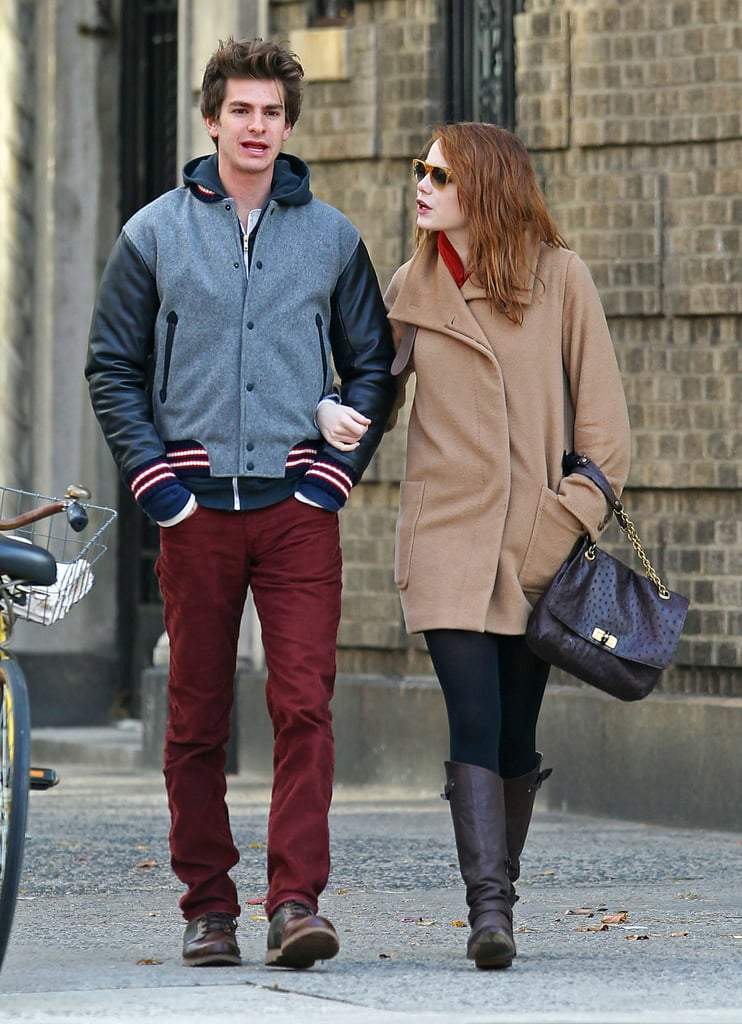 Emma Stone and Andrew Garfield bundled up in coats for a crisp Fall walk.