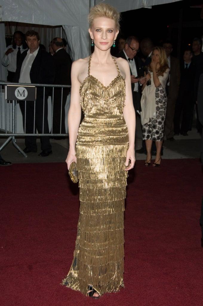 Cate Blanchett in Gold Balenciaga at the 2007 Met Gala