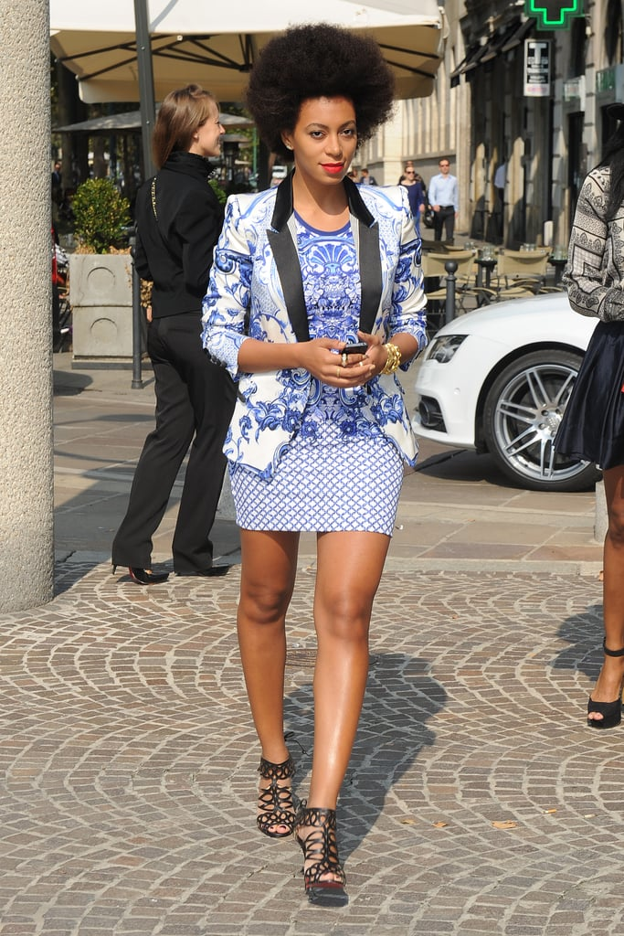 During Milan Fashion Week Spring 2013, Solange layered a blue and white blazer over her mixed-print mini to create a head-turning Roberto Cavalli combo, then slipped on a pair of cut-out Christian Louboutin sandals for a dash of detail. This print-on-print pairing was a little tame by Solange standards.
