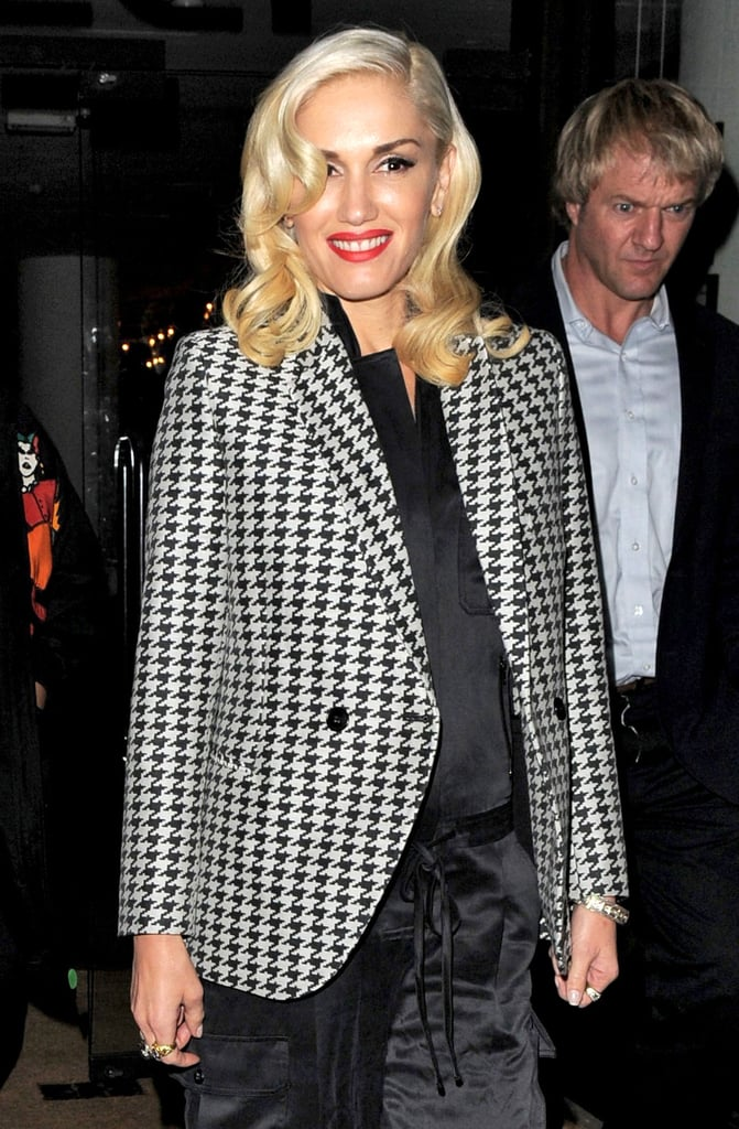 Gwen Stefani wore a checkered blazer for a night out in London.