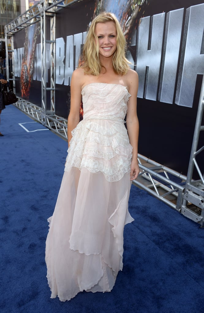 Brooklyn Decker stepped onto the blue carpet in LA for the West Coast premiere of Battleship.
