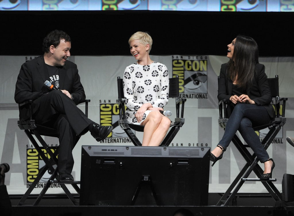 Michelle Williams and Mila Kunis laughed with Sam Raimi onstage at at Comic-Con.