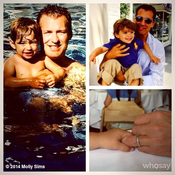 """Molly Sims showed off some adorable pictures of Scott and Brooks Stuber for Father's Day. She wrote, """"Lucky to have the best Dah Dah! We're so lucky!!!! We love you Soo much!!! #blessed #grateful."""" Source: Instagram user mollybsims"""