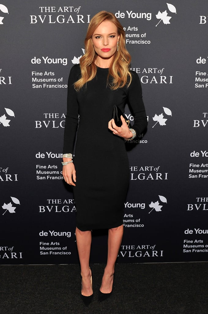 Kate Bosworth ditched her denim for a sleek black Stella McCartney dress, livened up with lots of shiny jewels, at the Bvlgari retrospective opening at the de Young Museum in San Francisco.