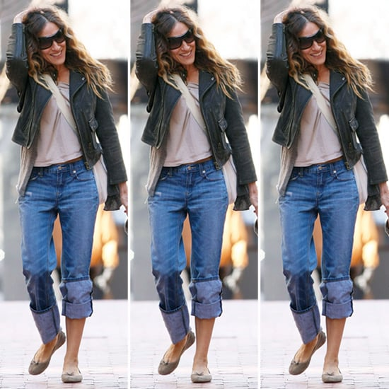 Sarah Jessica Parker Gray Leather Jacket