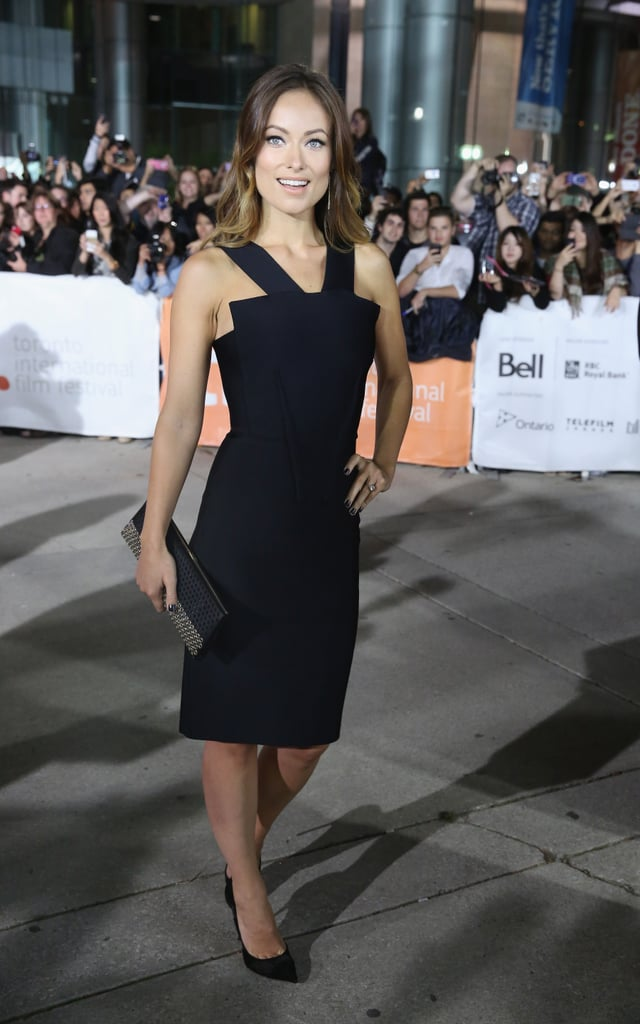 Olivia Wilde went classic in a fitted black sheath by Roland Mouret at the Rush premiere.