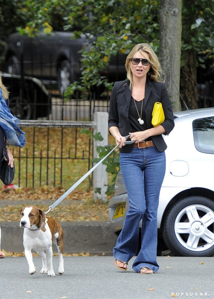 """Kate Moss and her husband, Jamie Hince, welcomed their Staffordshire Bull Terrier, Archie, shortly after they were married in 2011. In an interview with Grazia magazine, Kate addressed how Archie has changed her style, saying, """"So, I've got a dog, and the dog's making me (dress) more Day. It's a nightmare. You can't do a dog in a heel."""""""