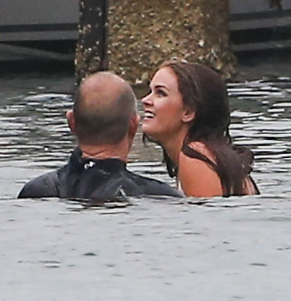 Isla Fisher pretended to be flailing in the water for a scene.
