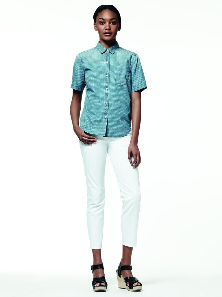 For the classicist, try on a short-sleeved denim top and white cropped jean look.