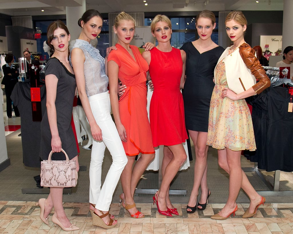 The model crew showed off Zac's collection of dresses.