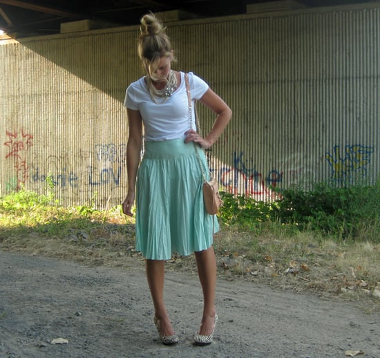 Pretty Pleats with a Vintage Necklace on Top