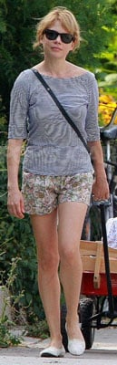 Michelle Williams Wearing Floral Shorts and Striped Shirt