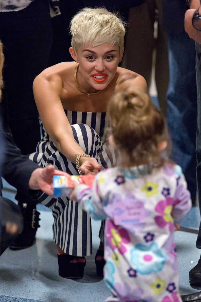 Miley Cyrus played with children at the Children's Hospital of Orange County.