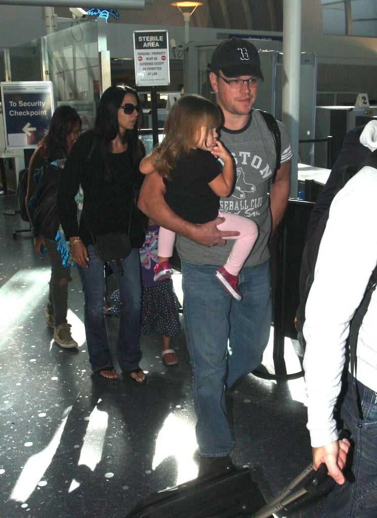 Matt Damon held on to Stella while Luciana Damon held hands with Gia.