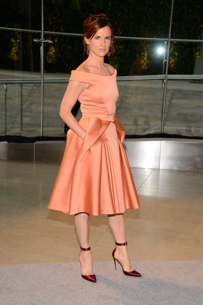Juliette Lewis looked like quite the lady in this off-the-shoulder peach Zac Posen frock.