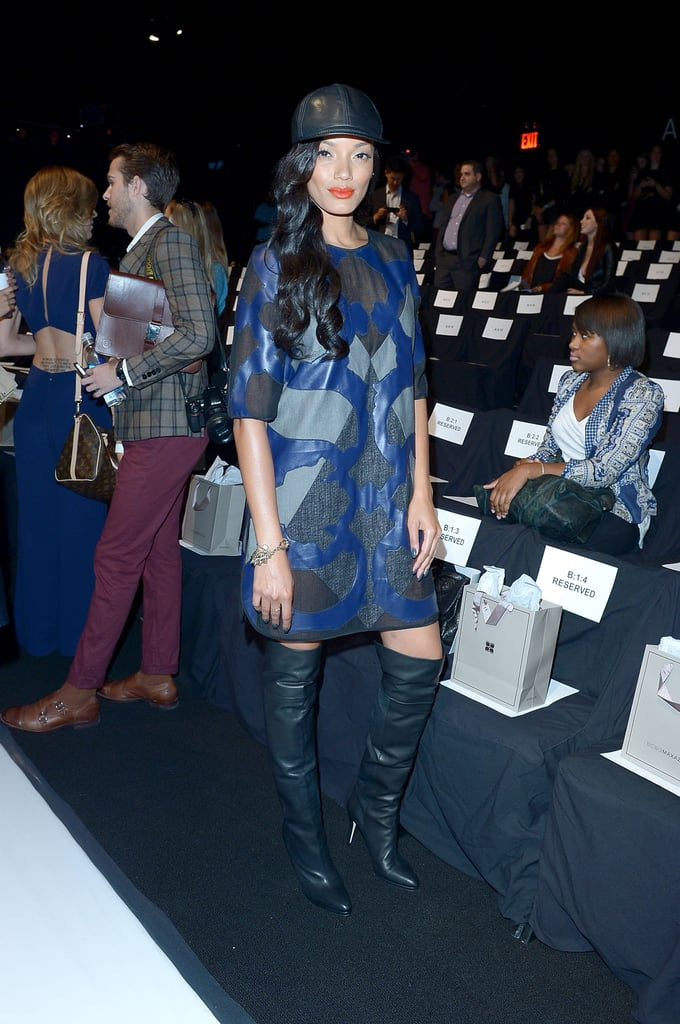 Selita Ebanks was sporty and sassy in cool leather pieces, including a baseball cap and over-the-knee boots, at BCBG Max Azria.