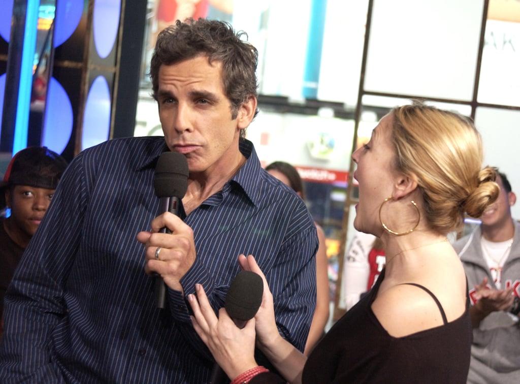 Ben Stiller and Drew Barrymore joked around during TRL in 2003.