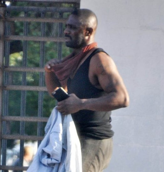 Idris Elba shows his arms on the set of The Dark Tower in South Africa