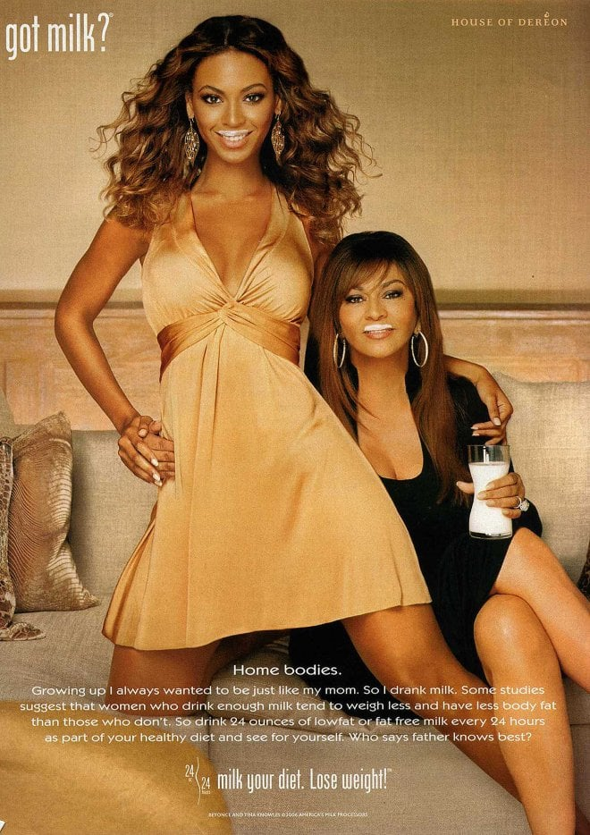 """Beyoncé Knowles teamed up with her mom, rocking a glamorous dress for their """"home bodies"""" pose."""