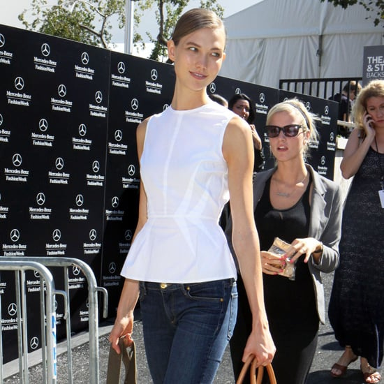 Karlie Kloss Wearing White Peplum Top