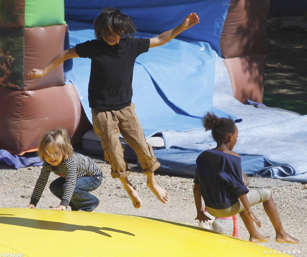 Angelina, Shiloh, Zahara, Pax, and the Twins Bounce Around at a Park!