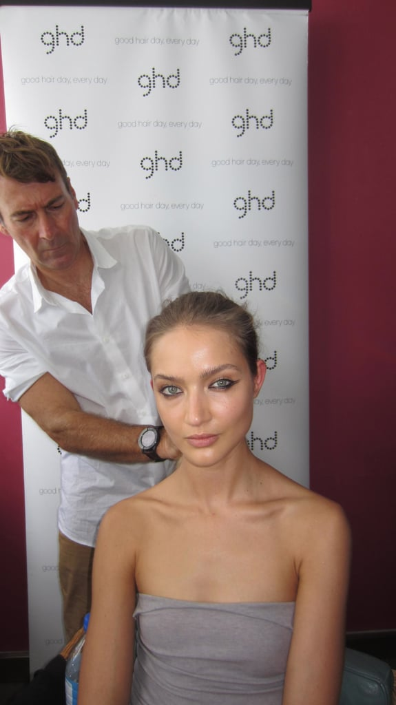 """Alan White, Ghd hair director says, """"the look is disconnected. There are two hairstyles going on here. There is one that represents our Ellery girl, brushed out but slightly polished and slightly textured, then the other part of it is a disconnected fringe which is a colour change to their own hair. That represents the structure and fluidity in the clothes. We want to add a touch of boyish beauty to it which is why we bought in the shorter fringe."""""""