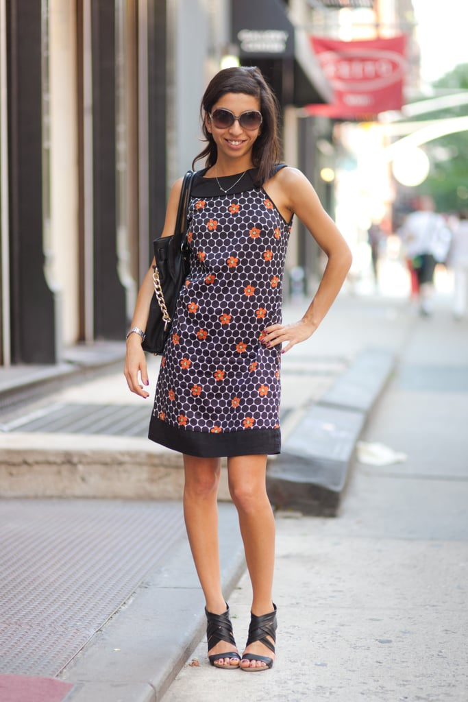 A little printed sheath goes a long way in updating an everyday look — basically, it's all you need.