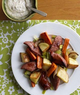Onion, Kielbasa, and Potato Roast Recipe