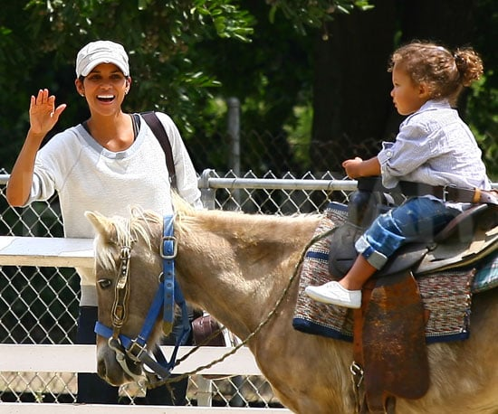 Slide Picture of Halle Berry and Nahla Riding a Pony