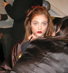 Ashleigh Verrier backstage at A/W 08 show