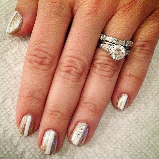 Bridal Nail Art With Rhinestones